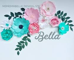 Wall Decoration Paper Design Turquoise wall decor paper flowers wall decor baby girl nursery teal 55