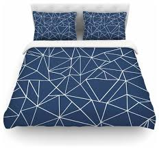 project m abstraction outline navy blue abstract duvet cover cotton queen contemporary