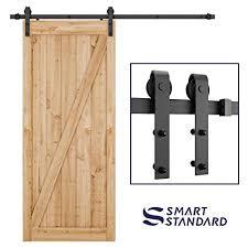 Barn doors and more Double Sided Smartstandard 66 Ft Heavy Duty Sliding Barn Door Hardware Kit Single Rail Black Smartstandard 66 Ft Heavy Duty Sliding Barn Door Hardware Kit