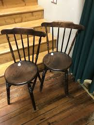 two vintage wood ice cream parlor chairs