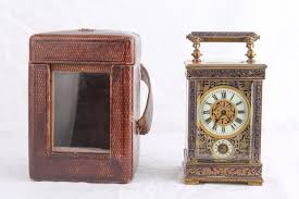 travel alarm clock with leather case cloisonne carriage bronze marble 1850 1880