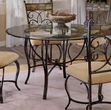 wrought iron round kitchen table set with glass top