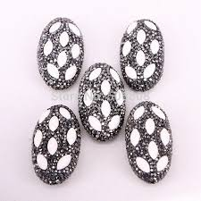 5pcs zyz309 1334 rhinestone crystal paved stone oval connector pendant beads fashion jewelry beads for