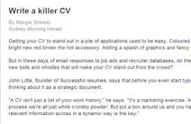 killer cv write up a resume