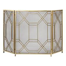 mid century modern fireplace screen. Mid Century Modern Geometric Fretwork Fireplace Screen | Firescreen Gold Retro U
