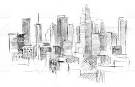 architectural drawings of skyscrapers. Pencil Drawing Of A Big Modern City With Skyscrapers Royalty-free Architectural Drawings