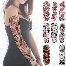 большой большой цветок лотоса временные татуировки наклейки Diy полный рукав