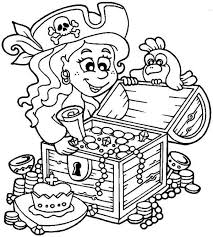 Pirate Coloring Pages Treasure Chest Little Girl And Her Page