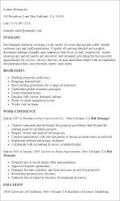 1 Bid Manager Resume Templates Try Them Now Myperfectresume