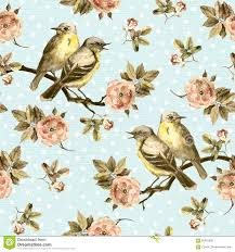 vintage birds background. Contemporary Background Vintage Seamless Background With Retro Birds In Floral Garden Rose  Flowers For Birds Background O