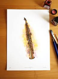soprano saxophone fine art pen and ink