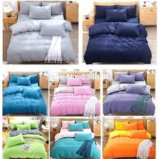 fashion 4pcs solid color single twin double full queen size bed quilt duvet cover set blue