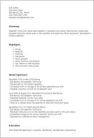 professional assembly technician templates to showcase your talent    resume templates  assembly technician