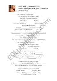 Last Christmas Song Worksheet - ESL worksheet by amiko0702