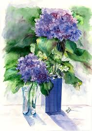 Hydrangeas in Vases Painting by Priscilla Powers