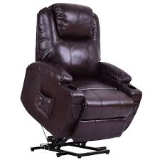 costway electric power lift chair recliner pu leather padded seat w remote cup holder