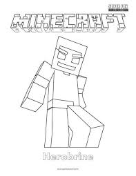 Minecraft Herobrine Coloring Page Super Fun Coloring