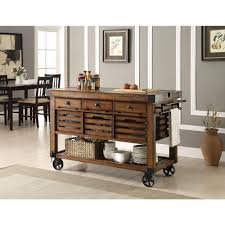 Acme Furniture Kaif Distressed Chestnut Kitchen Cart With Storage