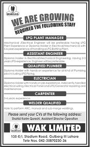 Lpg Plant Manager Assistant Engineer Job In Wakgas Qualified