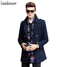 whole high grade new fashion brand clothing jacket men wool coat double ted pea coats men long wool blends winter coat men coated coat