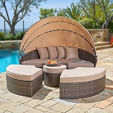 Amazon.com: SUNCROWN Outdoor Patio Round Daybed with Retractable ...