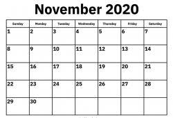 November 2020 Calendar Printable Calvert Giving