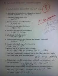 Answer Test A For Creativity 10 Students Who Failed Gloriously With Ridiculous