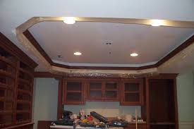 tray ceiling lighting ideas. White Color Painted Basement Tray Ceiling Combined With Small Lamp Lighting Ideas And Bordered Wood +