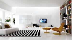 modern black white minimalist furniture interior. Living Room. Lcd Tv On White Panel Connected By Brown Lounge Chair And Black Modern Minimalist Furniture Interior