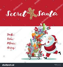 stock photo secret santa invitation with cartoon pushing a ping cart full of gifts