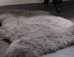 slate grey sheepskin rug