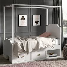 Greyleigh Tazewell Canopy Bed with Two Storage Drawer Units | Wayfair