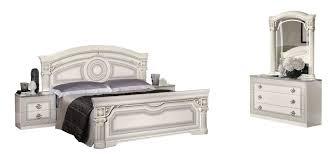 italian white furniture. ESF Aida Italian Bedroom Set In White \u0026 Silver - Side View Furniture