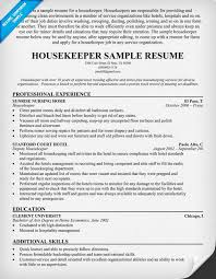 Sample Resumes For Housekeepers Cover Letter Samples