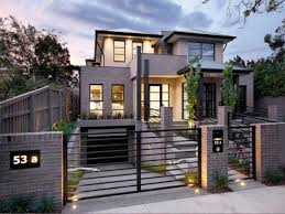 Grey Exterior Color With Simple Iron Fence Designs For Modern Home