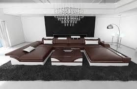 Details About Wohnlandschaft Monza U Leder Designsofa Mit Led Beleuchtung Ottomane Luxuscouch
