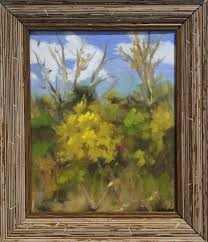unknown landscape painting untitled fall landscape small oil painting of yellow foliage tree