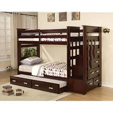 bunk bed with trundle and stairs. Simple Bunk Acme 10170 Allentown TwinTwin Bunk Bed With Storage Drawers And Trundle  Espresso Finish And With Trundle Stairs E