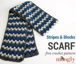 Free Crochet Patterns For Scarves Fascinating Stripes And Blocks Scarf Moogly