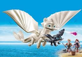 How To Train Your Dragon 3 Playmobil Light Fury Light Fury With Baby Dragon And Children 70038 Playmobil