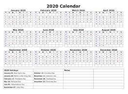 Printable Calendars 2020 With Holidays Printable 2020 One Page Holidays Calendar Free Printable