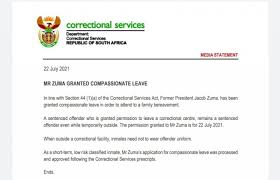 As would all other inmates, former president jacob zuma has the right to apply for permission to attend his late brother's funeral. My2sr1tr0hek8m