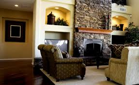 stone fireplace design ideas with tv above living room varnished