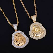 details about mens iced out designer 14k gold silver spiritual buddha pendant chains necklaces