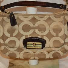 Coach Kristin Op Art Khaki Hobo Signature Bag Cros