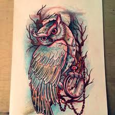 цветной эскиз совы татуировки татушка