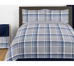 navy blue and grey plaid 4pc twin boys teen bedding set collection by sweet jojo designs only 119 99