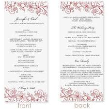 Microsoft Wedding Program Templates Instant Download Wedding Program Template Vintage Bouquet Red