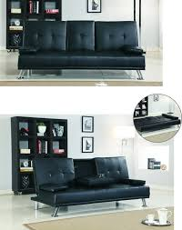 contemporary leather sofa sleeper. cinema style futon sofabed with drinks table sofa bed faux leather in black: amazon.co.uk: kitchen \u0026 home contemporary sleeper