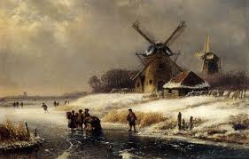 figures on a frozen waterway by a windmill